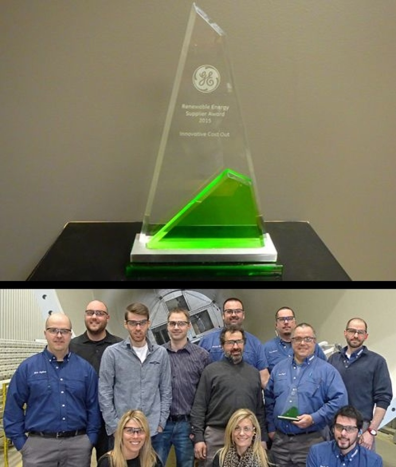 Marmen receives the Innovative Cost Out Award from GE Renewable Energy, Wind Division
